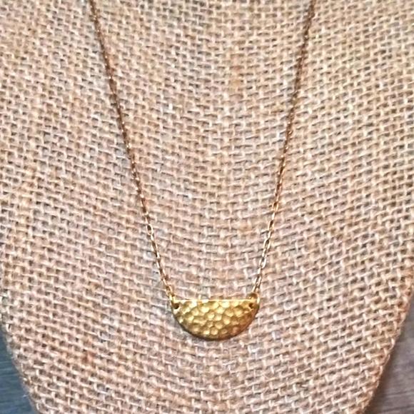 SALENwot AnnaBeck 14kGP Hammered Mid Moon Necklace